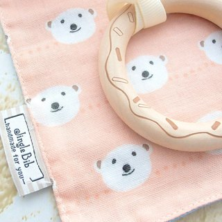 Baby Teething Blanket, Rattle Teether, Wooden Toy, Japanese Cotton, Smiling Bear
