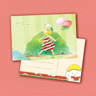The girl and watermelon  postcard friendship Card
