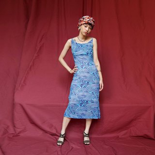 Pumpkin Vintage. Ancient blue psychedelic print cross backless sexy dress