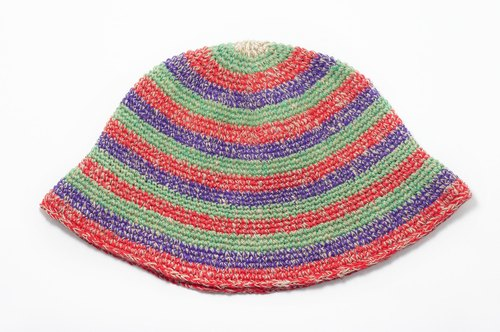Valentine's Day gift hand-woven hat / knitted caps / hand-woven cotton cap / wool cap / hat (made in nepal) - mixing cotton striped color cap Hemp