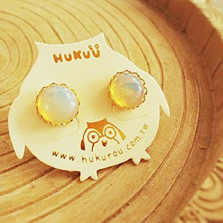 HUKUROU Simple Natural Stone Earrings - Opal