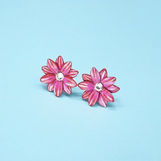 Gerberas Daisy Flower Stud Earrings \ Pink Red \ Gold Plated Sterling Silver