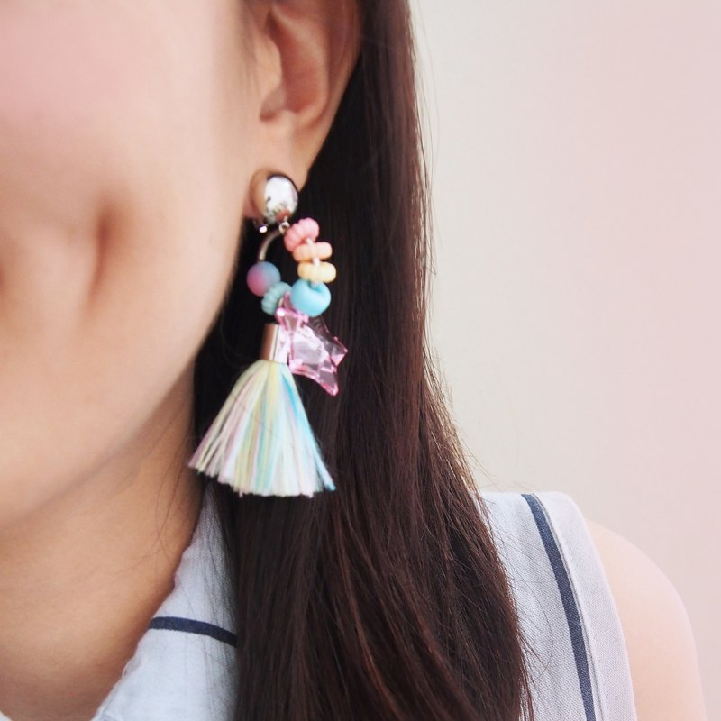 Pastel bead circle and colorful pastel tassel earrings