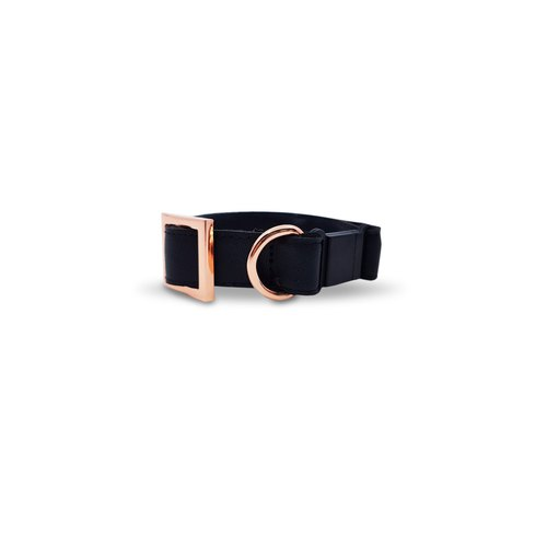 Classic Black Cat Collar with Rose Gold Hardware (Safety Breakaway Buckle)