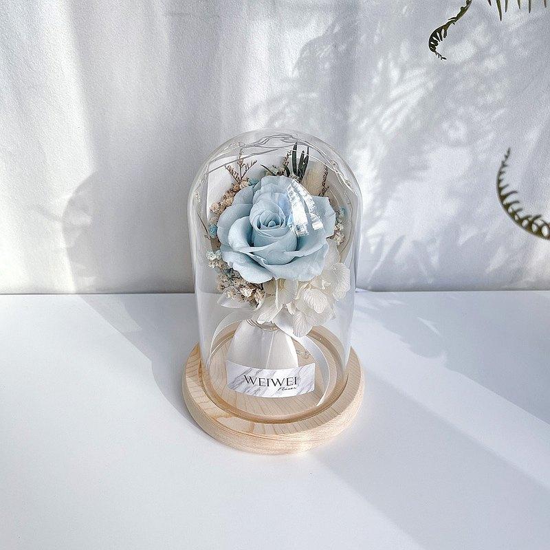 【獨家USB款】LED玫瑰小花束永生花玻璃鐘罩【薄荷藍】