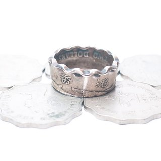 Dreamstation Leather 鞄 Institute, handmade original Hong Kong two yuan coin ring, hippie, thunder, heavy machine