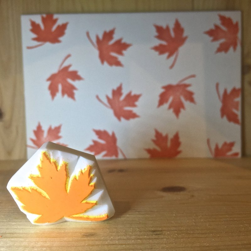 Handmade stamp with postcard(leaf B)