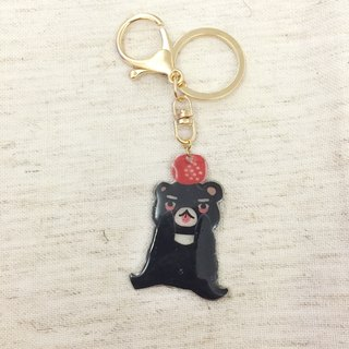 Oops bear - Black Bear & Ball keychain