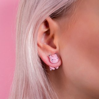 Pink Cat Earrings - Kawaii Cat Earrings Polymer Clay