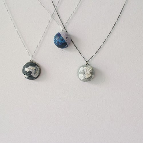 """The continuation of the moon. Shangri-La's fantasy ""cement necklace"