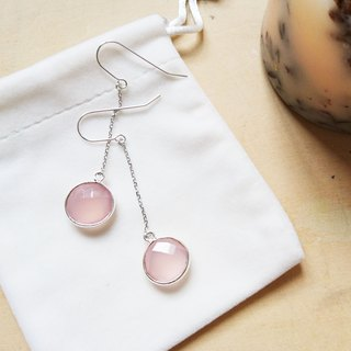 Free postage : Dangle Rose Quartz Earrings | Able to change into clip on