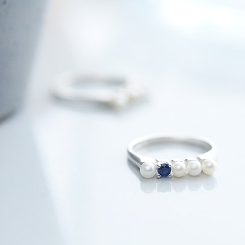 Sapphire pearl ring silver 925