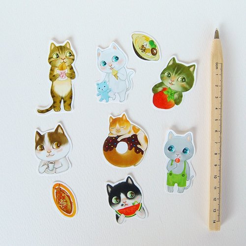 Fish cat / sticker bag / 35 sheets