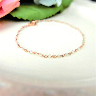 【Lalune】 November 誔 Health Stone - Pure Heart Topaz Rose Gold 925 Silver Bracelet