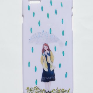 Handmade phone case, iPhone 6 plus,White case with resin, in the rain
