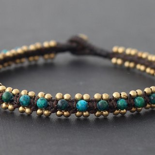 Malachite Brass Beaded Anklets Woven Beaded Cuff Bangle Ankle Bracelets