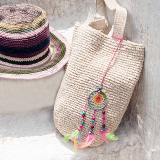 Limited handmade hand-woven cotton thread crocheted backpack / shoulder bag / hand bag / oblique bag / woven bag / hook bag / linen bag / cylinder bag - original summer