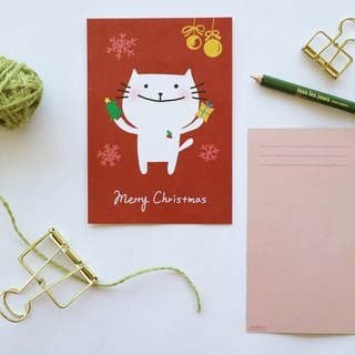 Little fat cat accompany you for Christmas postcard Christmas card