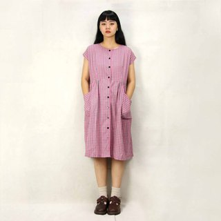 Tsubasa.Y Ancient House 005 Pink Plaid Vintage Dress, Dress Skirt