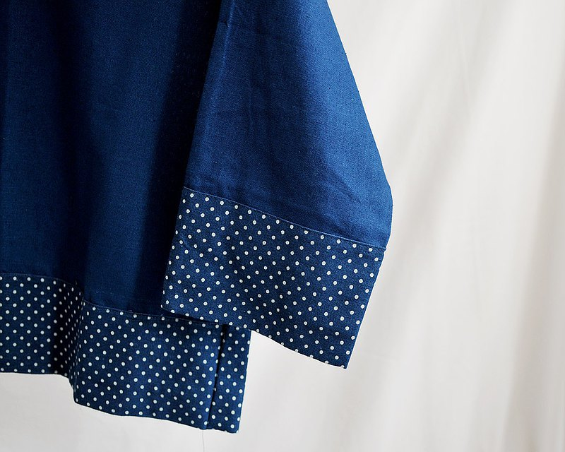 Indigo Blouse with Polka Dot Design