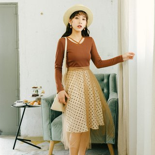2018 autumn women's new knit patchwork mesh dress dress