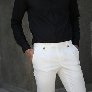 White single trousers with 2 button
