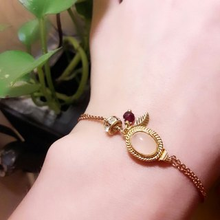 wristband. Pink crystal*red garnet*leaf zircon brass double bracelet