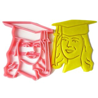 Custom Graduation Portrait / Cap Cookie Cutter, Personalized with Graduate Face