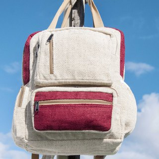 Cotton and linen stitching design backpack / shoulder bag / ethnic mountaineering bag / computer backpack - hit color fashion red