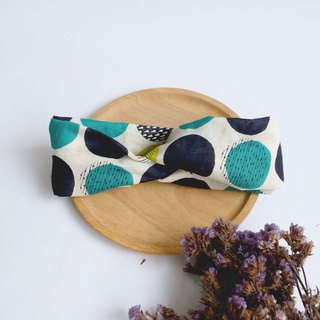 MaryWil Two-tone Suede Hairband - Blue and Green Geometric Dots