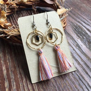 Earrings - tassel series / pink mixed color tassel + multi-layered black zircon