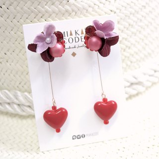 Handmade beaded red series flower love pearl earrings / ear clips