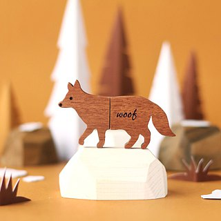 CUSTOMIZABLE Wooden Animal USB Flash drive - Fox