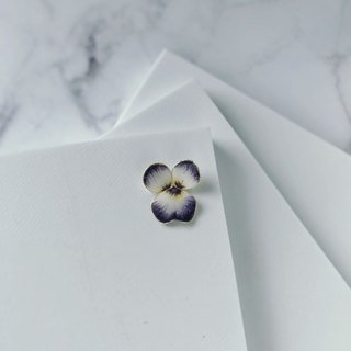 Pansy / hand made earrings - ear pin ear clip