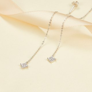 【PurpleMay Jewellery】18k White Gold Square Diamond Drop Earring E007
