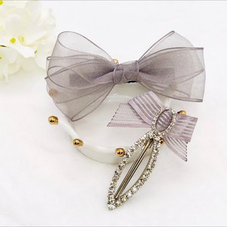 Lovely Chiffon Ribbon Bow Hair Clip with Rhinestones Hair Clip Set