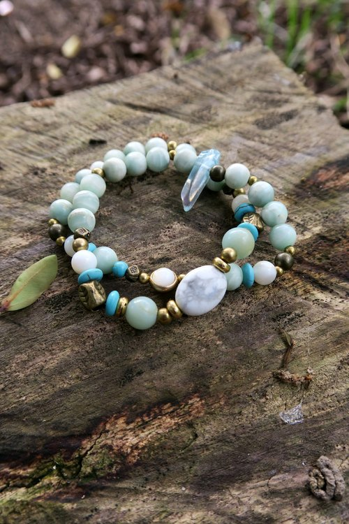 [Spirituality] small hand material Tianhe stone / turquoise / white turquoise / (white crystal) ore column / natural stone / brass beads • double ring bracelet neutral men and women gifts