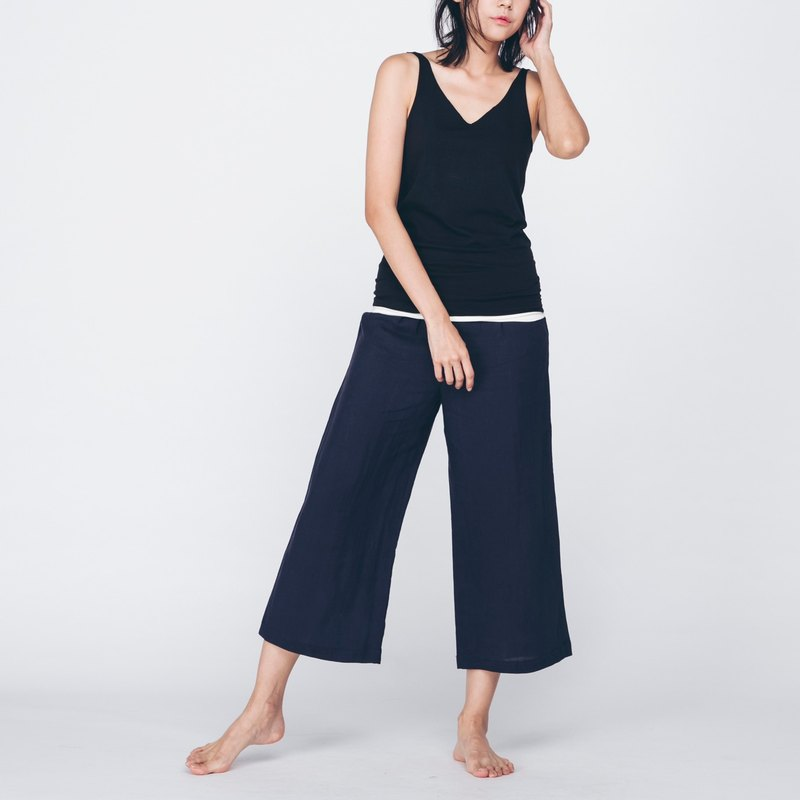 Linen Cropped Pants - Navy