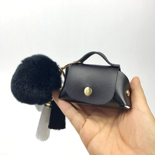 Zemoneni leather coin purse with black or silver grey fluffy ball