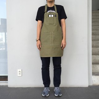 New Green camo Canvas Apron no.02 Copper rivets 2 pockets / garden / barista / Handmade.