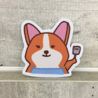 """Art of fish"" Corgi daily cooking small waterproof stickers -SS0064"