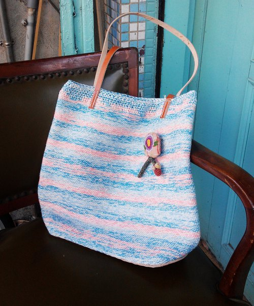 Tide of the sound - Cotton twine hand-woven shoulder bag