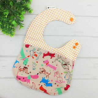 Orange puppy. Double-sided bib (price increase 40 embroidered name)