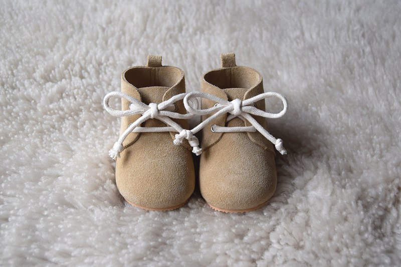 67c4d903f8619 Leather Baby Shoes, Baby Moccasins, Sand Baby Lace Up Boots, Beige Baby Boy  Shoe
