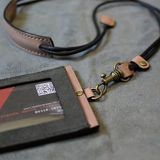 YOURS Straight ID Holder (with Necklace) Grey Suede + Natural Leather