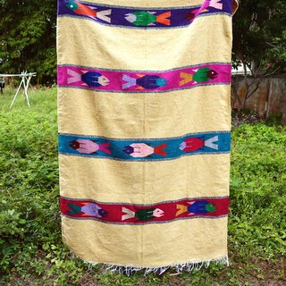 BajuTua/Ancient/Mexico Handmade Blanket - Yellow-colored fish, Mexican rug