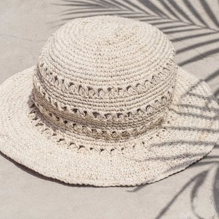Hand-knitted cotton and linen caps knit hats fisherman hat straw hat straw hat - original summer colors