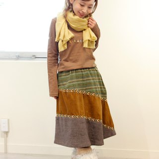 Knee length Naname patchwork skirt