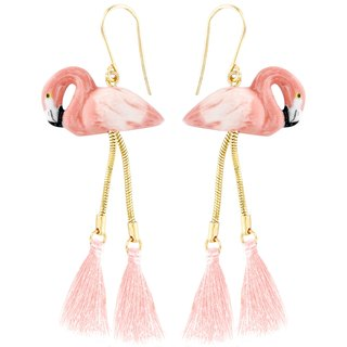 Flamingo Earrings with Pompom Earrings