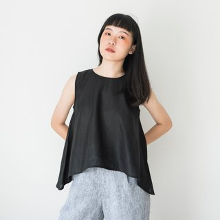 Black Linen Sleeveless Shirt